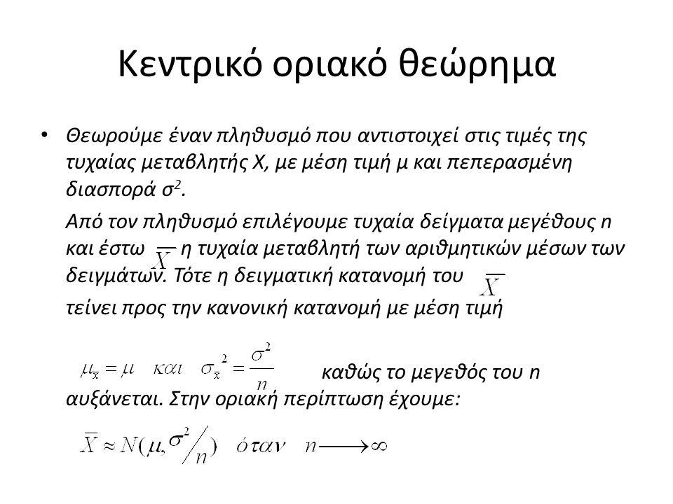 Κεντρικό οριακό θεώρημα Θεωρούμε έναν πληθυσμό που αντιστοιχεί στις τιμές της τυχαίας μεταβλητής Χ, με μέση τιμή μ και πεπερασμένη διασπορά σ 2.