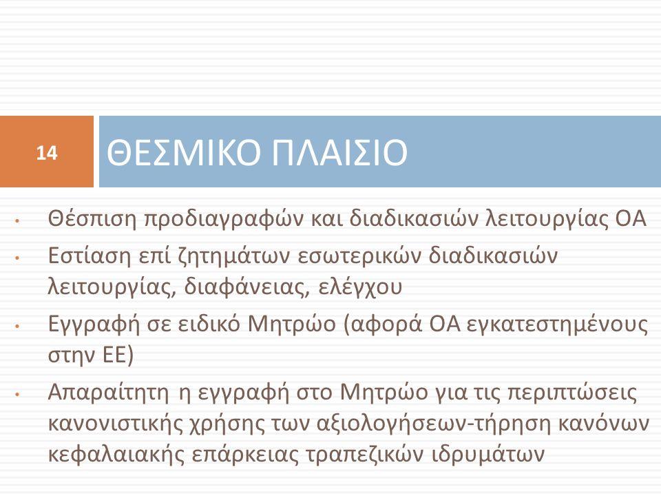 Θέσπιση προδιαγραφών και διαδικασιών λειτουργίας ΟΑ Εστίαση επί ζητημάτων εσωτερικών διαδικασιών λειτουργίας, διαφάνειας, ελέγχου Εγγραφή σε ειδικό Μητρώο ( αφορά ΟΑ εγκατεστημένους στην ΕΕ ) Απαραίτητη η εγγραφή στο Μητρώο για τις περιπτώσεις κανονιστικής χρήσης των αξιολογήσεων - τήρηση κανόνων κεφαλαιακής επάρκειας τραπεζικών ιδρυμάτων ΘΕΣΜΙΚΟ ΠΛΑΙΣΙΟ 14
