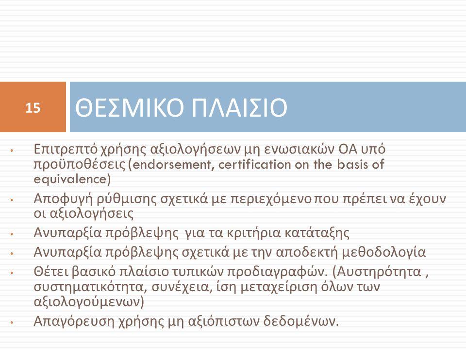 Επιτρεπτό χρήσης αξιολογήσεων μη ενωσιακών ΟΑ υπό προϋποθέσεις (endorsement, certification on the basis of equivalence) Αποφυγή ρύθμισης σχετικά με περιεχόμενο που πρέπει να έχουν οι αξιολογήσεις Ανυπαρξία πρόβλεψης για τα κριτήρια κατάταξης Ανυπαρξία πρόβλεψης σχετικά με την αποδεκτή μεθοδολογία Θέτει βασικό πλαίσιο τυπικών προδιαγραφών.