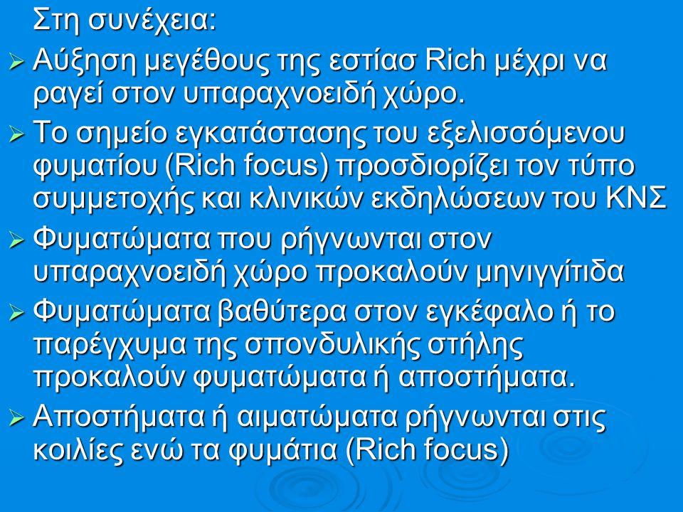 Στη συνέχεια: Στη συνέχεια:  Αύξηση μεγέθους της εστίασ Rich μέχρι να ραγεί στον υπαραχνοειδή χώρο.  Το σημείο εγκατάστασης του εξελισσόμενου φυματί