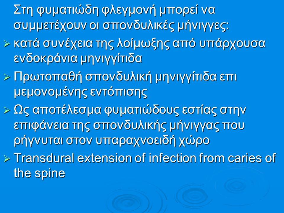Στη φυματιώδη φλεγμονή μπορεί να συμμετέχουν οι σπονδυλικές μήνιγγες: Στη φυματιώδη φλεγμονή μπορεί να συμμετέχουν οι σπονδυλικές μήνιγγες:  κατά συν