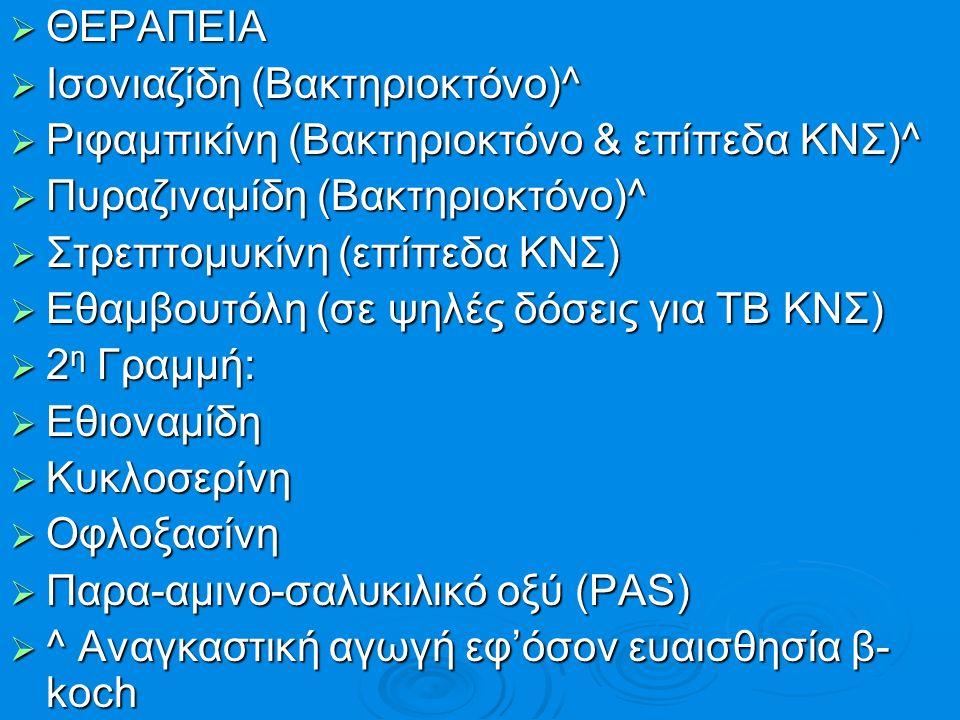  ΘΕΡΑΠΕΙΑ  Ισονιαζίδη (Βακτηριοκτόνο)^  Ριφαμπικίνη (Βακτηριοκτόνο & επίπεδα ΚΝΣ)^  Πυραζιναμίδη (Βακτηριοκτόνο)^  Στρεπτομυκίνη (επίπεδα ΚΝΣ) 