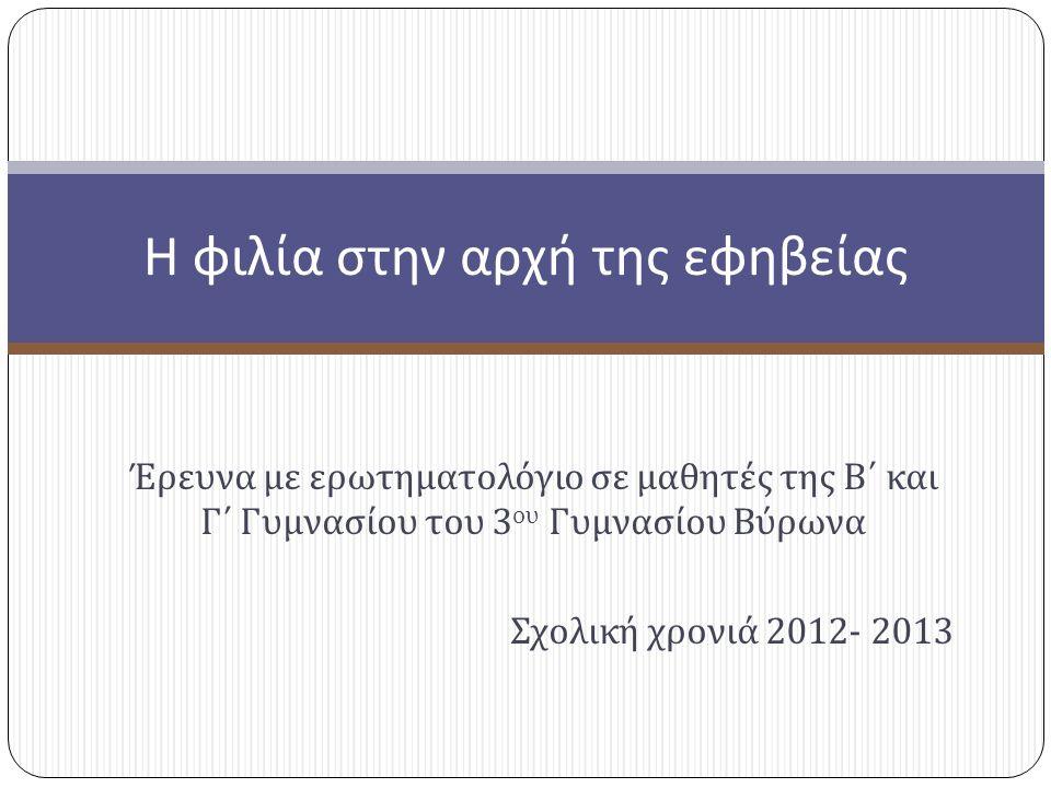 Έρευνα με ερωτηματολόγιο σε μαθητές της Β΄ και Γ΄ Γυμνασίου του 3 ου Γυμνασίου Βύρωνα Σχολική χρονιά 2012- 2013 Η φιλία στην αρχή της εφηβείας