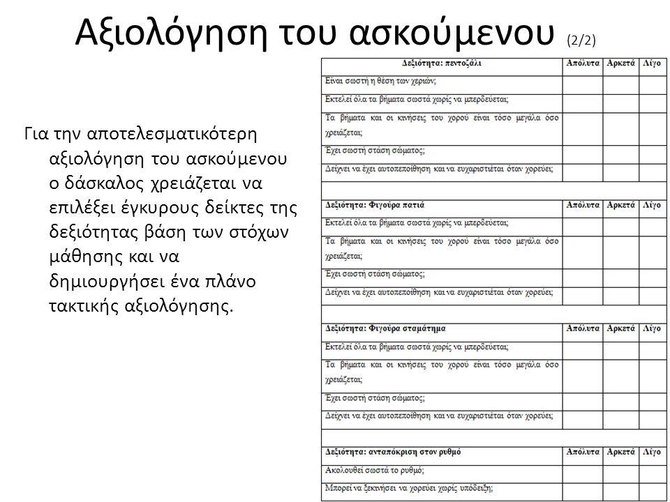 Αξιολόγηση του ασκούμενου (2/2) Για την αποτελεσματικότερη αξιολόγηση του ασκούμενου ο δάσκαλος χρειάζεται να επιλέξει έγκυρους δείκτες της δεξιότητας