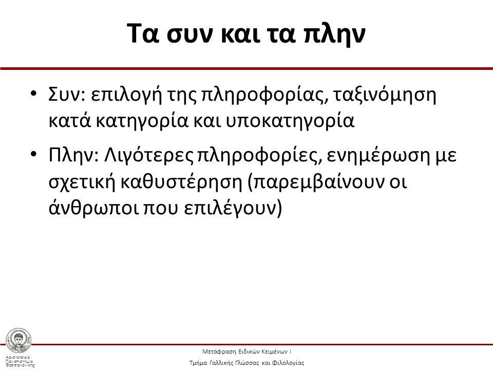 Αριστοτέλειο Πανεπιστήμιο Θεσσαλονίκης Μετάφραση Ειδικών Κειμένων Ι Τμήμα Γαλλικής Γλώσσας και Φιλολογίας Τα συν και τα πλην Συν: επιλογή της πληροφορίας, ταξινόμηση κατά κατηγορία και υποκατηγορία Πλην: Λιγότερες πληροφορίες, ενημέρωση με σχετική καθυστέρηση (παρεμβαίνουν οι άνθρωποι που επιλέγουν)