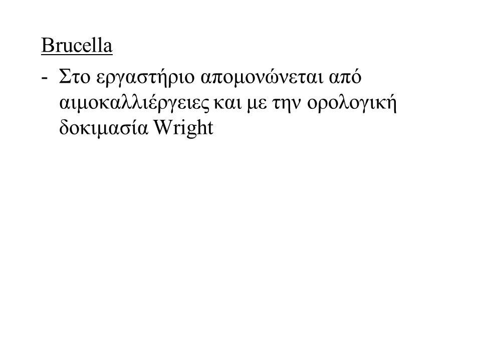 Brucella -Στο εργαστήριο απομονώνεται από αιμοκαλλιέργειες και με την ορολογική δοκιμασία Wright