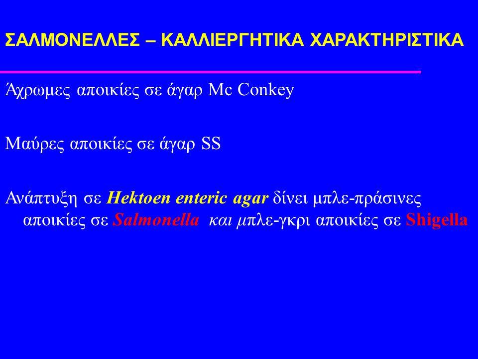 ΣΑΛΜΟΝΕΛΛEΣ – ΚΑΛΛΙΕΡΓΗΤΙΚΑ ΧΑΡΑΚΤΗΡΙΣΤΙΚΑ Άχρωμες αποικίες σε άγαρ Mc Conkey Μαύρες αποικίες σε άγαρ SS Ανάπτυξη σε Hektoen enteric agar δίνει μπλε-πράσινες αποικίες σε Salmonella και μπλε-γκρι αποικίες σε Shigella