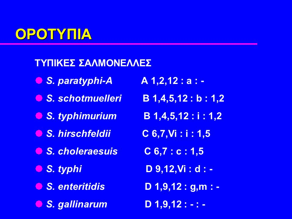 OΡΟΤΥΠΙΑ ΤΥΠΙΚΕΣ ΣΑΛMΟΝΕΛΛΕΣ  S. paratyphi-A A 1,2,12 : a : -  S.