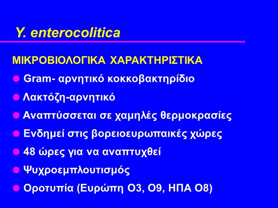 Y. enterocolitica ΜΙΚΡΟΒΙΟΛΟΓΙΚΑ ΧΑΡΑΚΤΗΡΙΣΤΙΚΑ  Gram- αρνητικό κοκκοβακτηρίδιο  Λακτόζη-αρνητικό  Αναπτύσσεται σε χαμηλές θερμοκρασίες  Ενδημεί σ