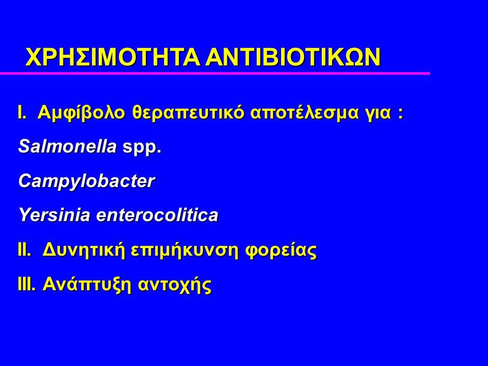 ΧΡΗΣΙΜΟΤΗΤΑ ΑΝΤΙΒΙΟΤΙΚΩΝ I. Αμφίβολο θεραπευτικό αποτέλεσμα για : Salmonella spp.
