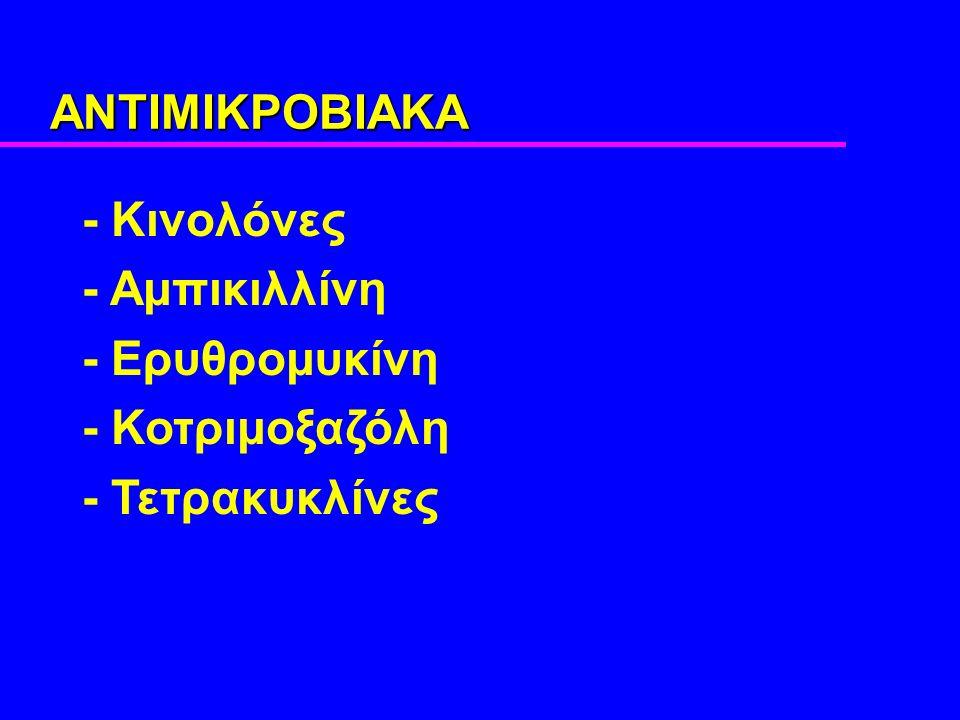 ΑΝΤΙΜΙΚΡΟΒΙΑΚΑ - Κινολόνες - Αμπικιλλίνη - Ερυθρομυκίνη - Κοτριμοξαζόλη - Τετρακυκλίνες