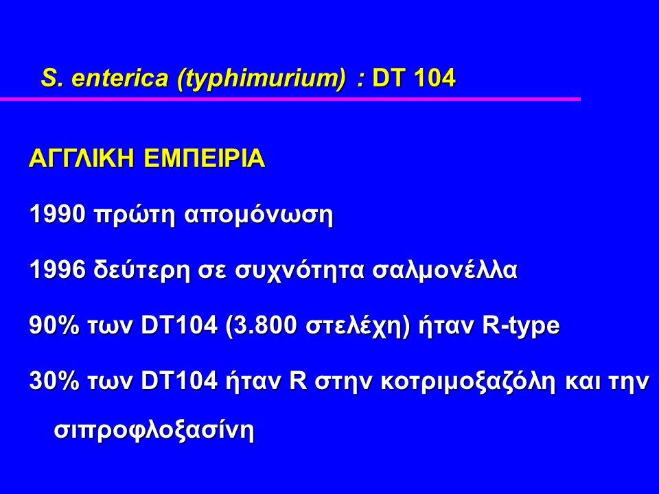 S. enterica (typhimurium) : DT 104 ΑΓΓΛΙΚΗ ΕΜΠΕΙΡΙΑ 1990 πρώτη απομόνωση 1996 δεύτερη σε συχνότητα σαλμονέλλα 90% των DT104 (3.800 στελέχη) ήταν R-typ