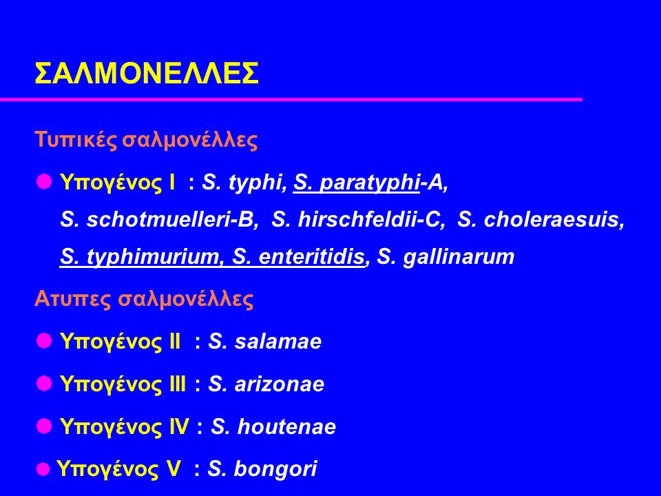 ΣΑΛΜΟΝΕΛΛEΣ Τυπικές σαλμονέλλες  Υπογένος Ι : S. typhi, S.