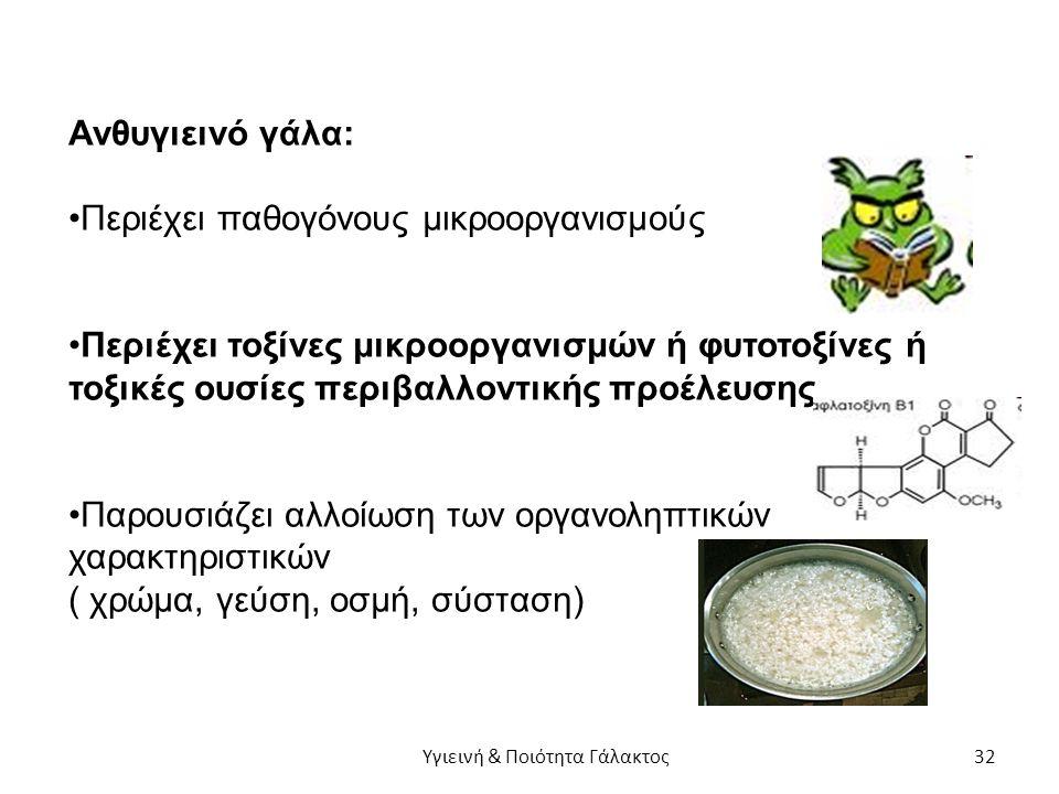 Ανθυγιεινό γάλα: Περιέχει παθογόνους μικροοργανισμούς Περιέχει τοξίνες μικροοργανισμών ή φυτοτοξίνες ή τοξικές ουσίες περιβαλλοντικής προέλευσης Παρουσιάζει αλλοίωση των οργανοληπτικών χαρακτηριστικών ( χρώμα, γεύση, οσμή, σύσταση) Υγιεινή & Ποιότητα Γάλακτος 32