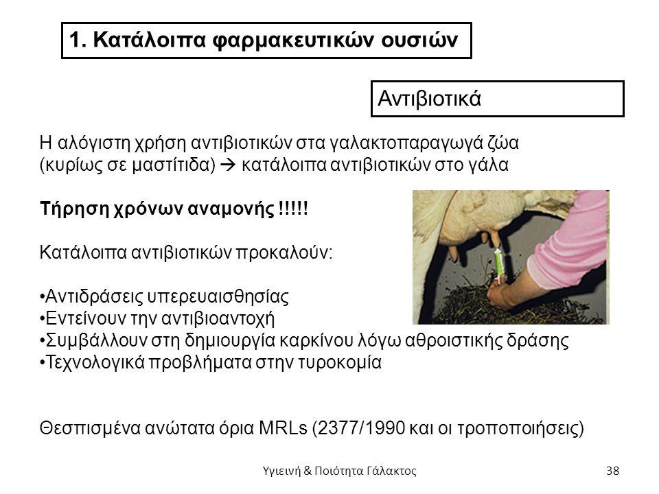 1. Κατάλοιπα φαρμακευτικών ουσιών Αντιβιοτικά Η αλόγιστη χρήση αντιβιοτικών στα γαλακτοπαραγωγά ζώα (κυρίως σε μαστίτιδα)  κατάλοιπα αντιβιοτικών στο