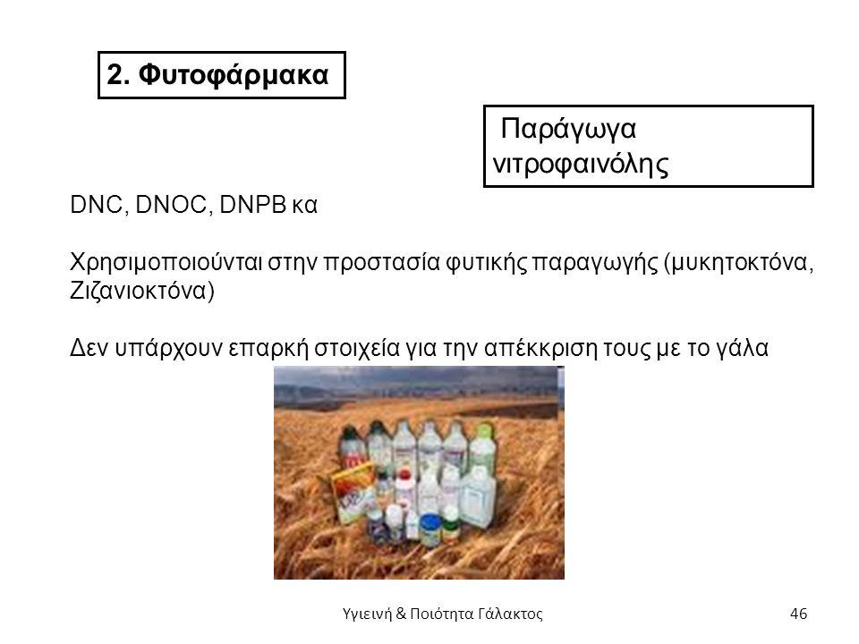 2. Φυτοφάρμακα Παράγωγα νιτροφαινόλης DNC, DNOC, DNPB κα Χρησιμοποιούνται στην προστασία φυτικής παραγωγής (μυκητοκτόνα, Ζιζανιοκτόνα) Δεν υπάρχουν επ