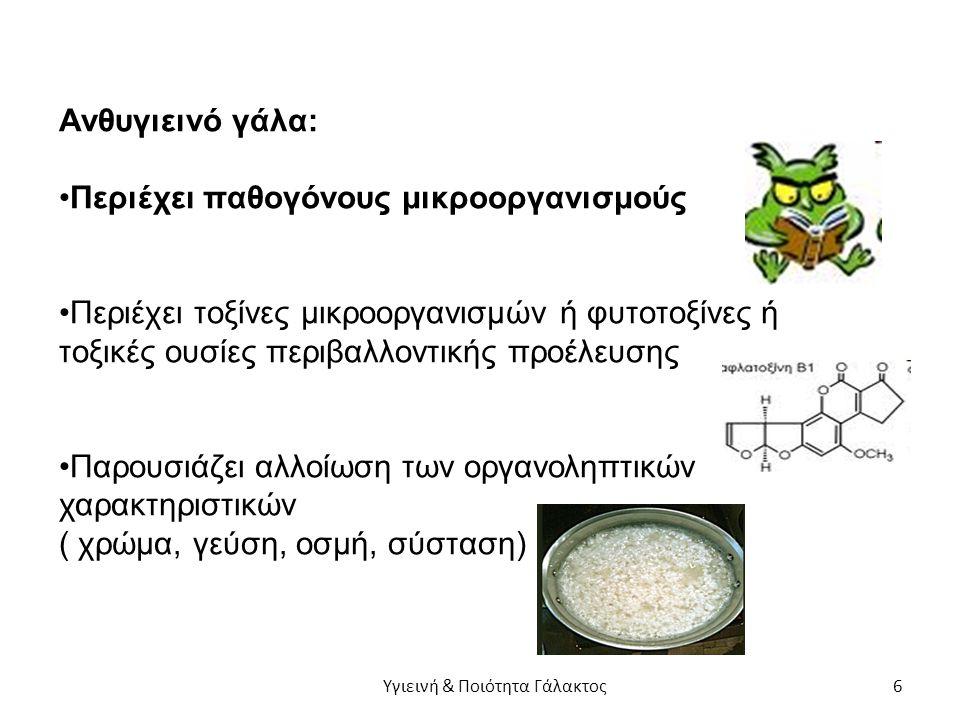 Ανθυγιεινό γάλα: Περιέχει παθογόνους μικροοργανισμούς Περιέχει τοξίνες μικροοργανισμών ή φυτοτοξίνες ή τοξικές ουσίες περιβαλλοντικής προέλευσης Παρουσιάζει αλλοίωση των οργανοληπτικών χαρακτηριστικών ( χρώμα, γεύση, οσμή, σύσταση) Υγιεινή & Ποιότητα Γάλακτος 6
