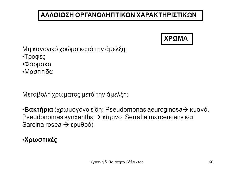 ΑΛΛΟΙΩΣΗ ΟΡΓΑΝΟΛΗΠΤΙΚΩΝ ΧΑΡΑΚΤΗΡΙΣΤΙΚΩΝ ΧΡΩΜΑ Μη κανονικό χρώμα κατά την άμελξη: Τροφές Φάρμακα Μαστίτιδα Μεταβολή χρώματος μετά την άμελξη: Βακτήρια (χρωμογόνα είδη: Pseudomonas aeuroginosa  κυανό, Pseudonomas synxantha  κίτρινο, Serratia marcencens και Sarcina rosea  ερυθρό) Χρωστικές Υγιεινή & Ποιότητα Γάλακτος 60