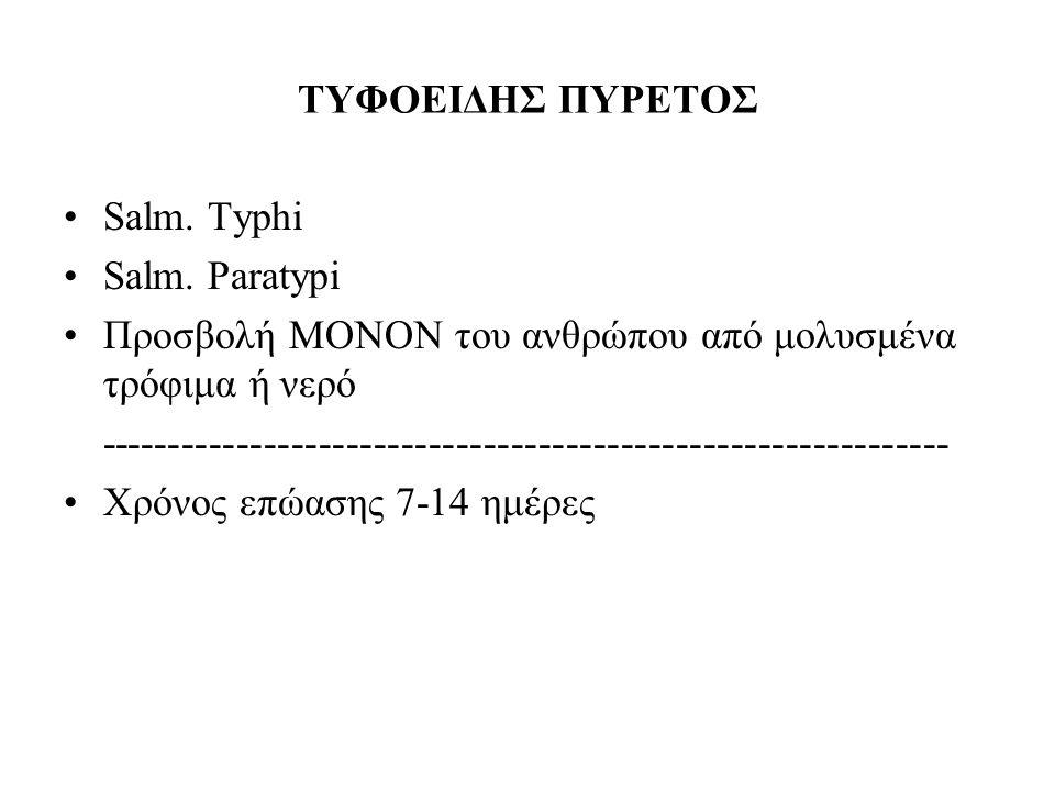 ΤΥΦΟΕΙΔΗΣ ΠΥΡΕΤΟΣ Salm. Typhi Salm. Paratypi Προσβολή ΜΟΝΟΝ του ανθρώπου από μολυσμένα τρόφιμα ή νερό ------------------------------------------------