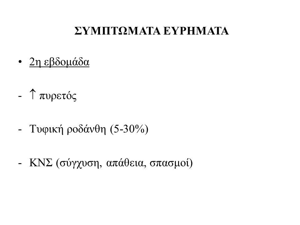 2η εβδομάδα -  πυρετός -Τυφική ροδάνθη (5-30%) -ΚΝΣ (σύγχυση, απάθεια, σπασμοί) ΣΥΜΠΤΩΜΑΤΑ ΕΥΡΗΜΑΤΑ
