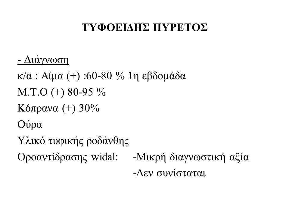 ΤΥΦΟΕΙΔΗΣ ΠΥΡΕΤΟΣ - Διάγνωση κ/α : Aίμα (+) :60-80 % 1η εβδομάδα Μ.Τ.Ο (+) 80-95 % Κόπρανα (+) 30% Ούρα Υλικό τυφικής ροδάνθης Οροαντίδρασης widal:-Μι