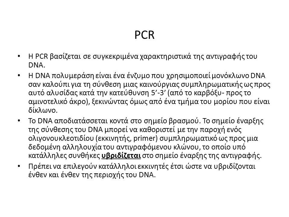 PCR H PCR βασίζεται σε συγκεκριμένα χαρακτηριστικά της αντιγραφής του DNA.