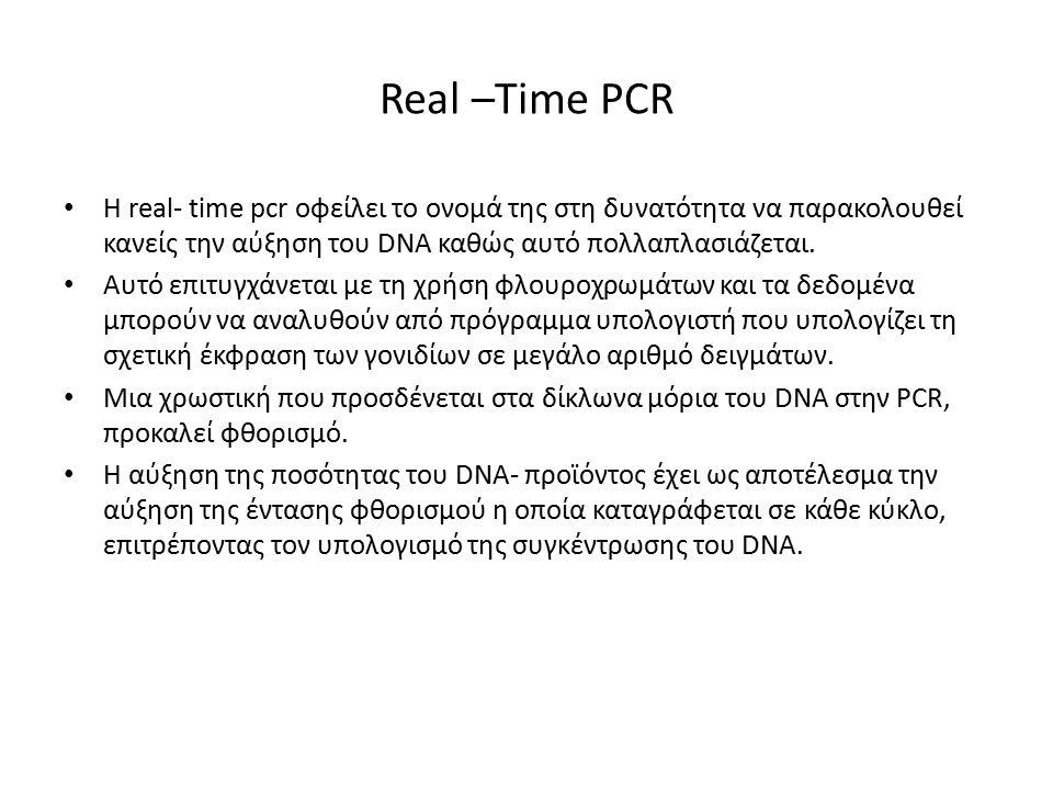 Real –Time PCR Η real- time pcr οφείλει το ονομά της στη δυνατότητα να παρακολουθεί κανείς την αύξηση του DNA καθώς αυτό πολλαπλασιάζεται.