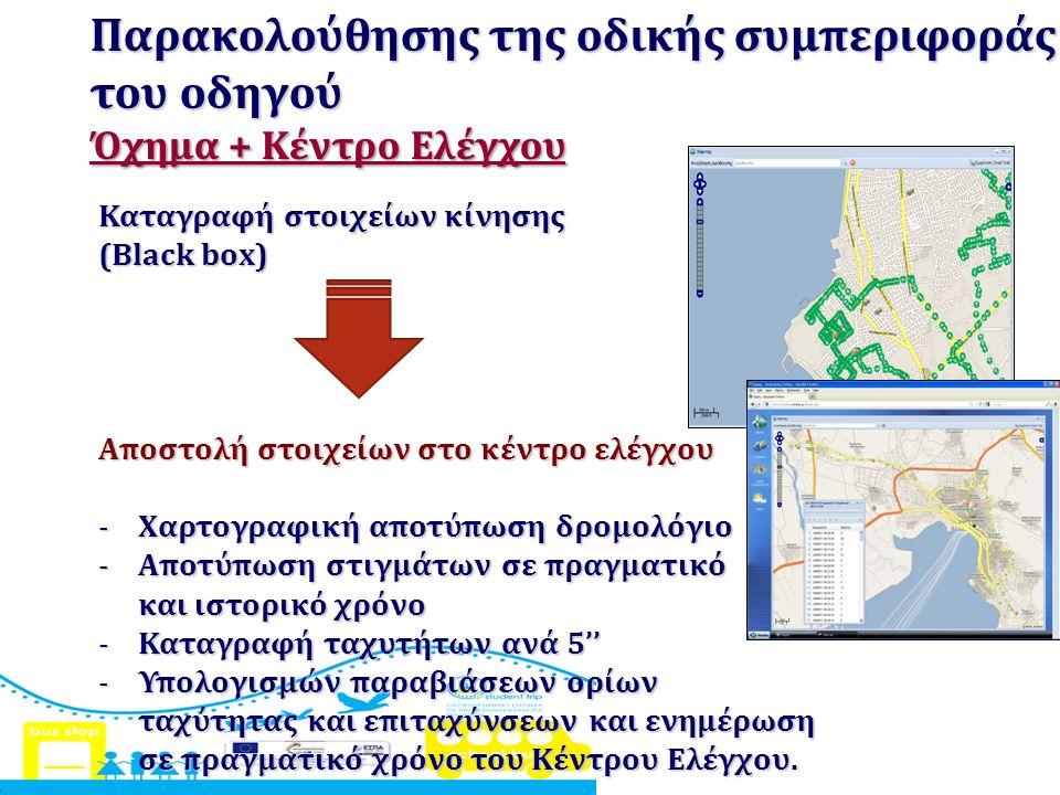 Παρακολούθησης της οδικής συμπεριφοράς του οδηγού Όχημα + Κέντρο Ελέγχου Καταγραφή στοιχείων κίνησης (Black box) Αποστολή στοιχείων στο κέντρο ελέγχου -Χαρτογραφική αποτύπωση δρομολόγιο -Αποτύπωση στιγμάτων σε πραγματικό και ιστορικό χρόνο -Καταγραφή ταχυτήτων ανά 5'' -Υπολογισμών παραβιάσεων ορίων ταχύτητας και επιταχύνσεων και ενημέρωση σε πραγματικό χρόνο του Κέντρου Ελέγχου.