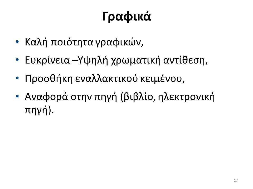 Γραφικά Καλή ποιότητα γραφικών, Ευκρίνεια –Υψηλή χρωματική αντίθεση, Προσθήκη εναλλακτικού κειμένου, Αναφορά στην πηγή (βιβλίο, ηλεκτρονική πηγή).