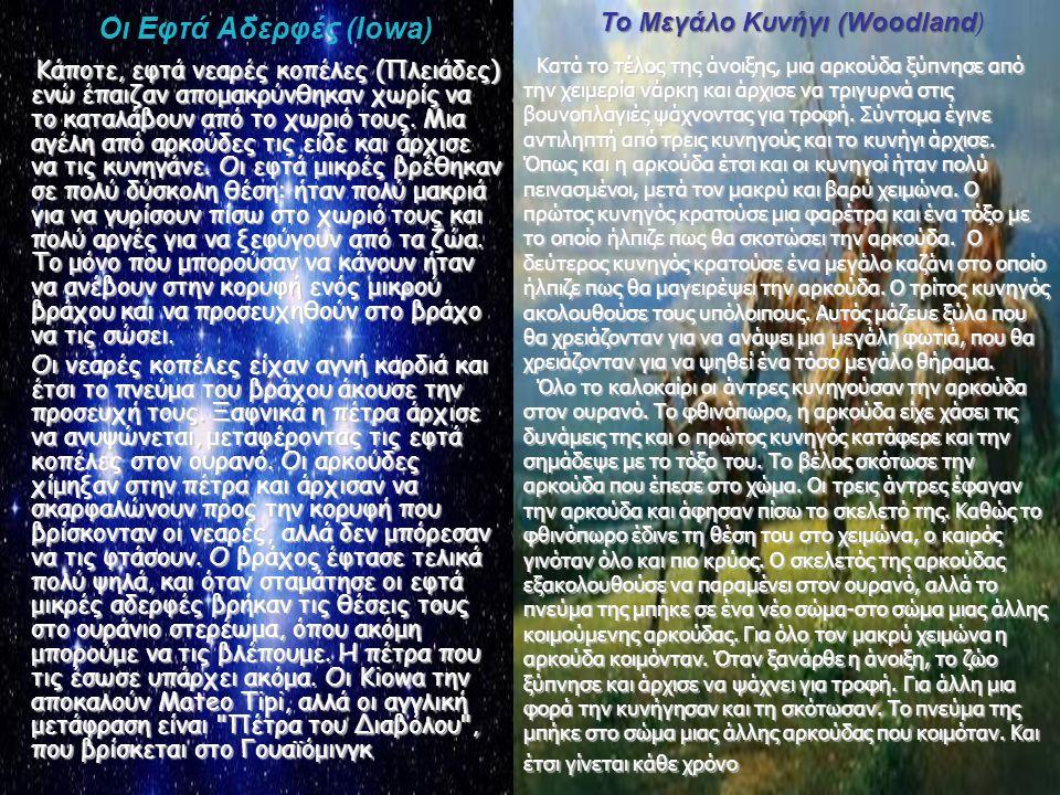 Οι Εφτά Αδερφές (Ιowa) Κάποτε, εφτά νεαρές κοπέλες (Πλειάδες) ενώ έπαιζαν απομακρύνθηκαν χωρίς να το καταλάβουν από το χωριό τους. Μια αγέλη από αρκού