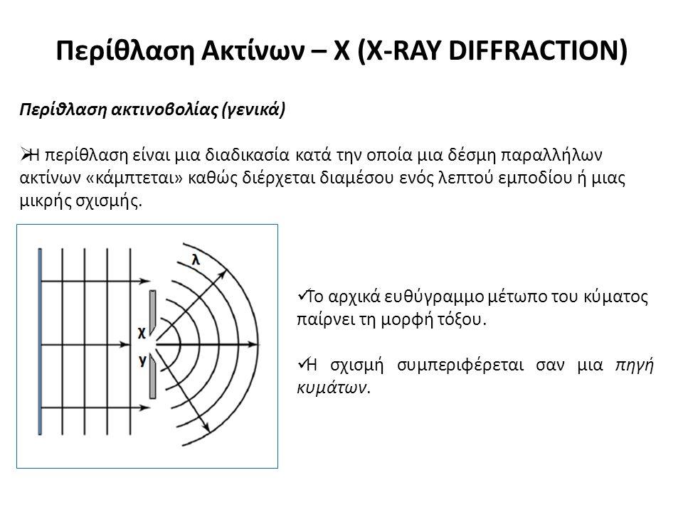 Περίθλαση Ακτίνων – Χ (X-RAY DIFFRACTION) Περίθλαση ακτινοβολίας (γενικά)  Η περίθλαση είναι μια διαδικασία κατά την οποία μια δέσμη παραλλήλων ακτίνων «κάμπτεται» καθώς διέρχεται διαμέσου ενός λεπτού εμποδίου ή μιας μικρής σχισμής.