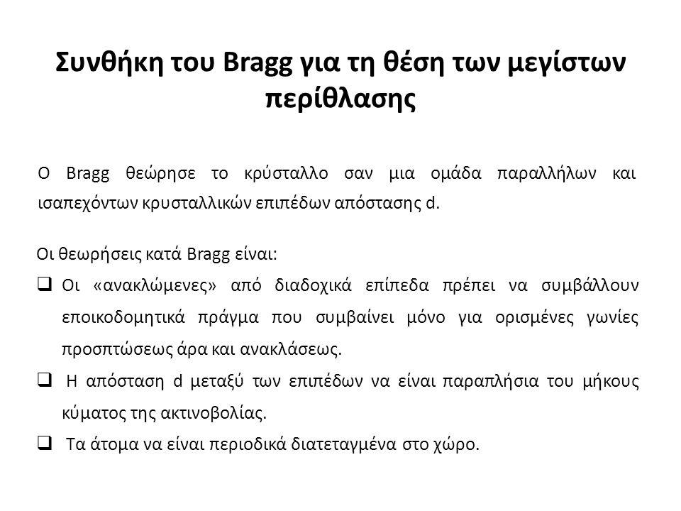 Συνθήκη του Bragg για τη θέση των μεγίστων περίθλασης O Bragg θεώρησε το κρύσταλλο σαν μια ομάδα παραλλήλων και ισαπεχόντων κρυσταλλικών επιπέδων απόστασης d.
