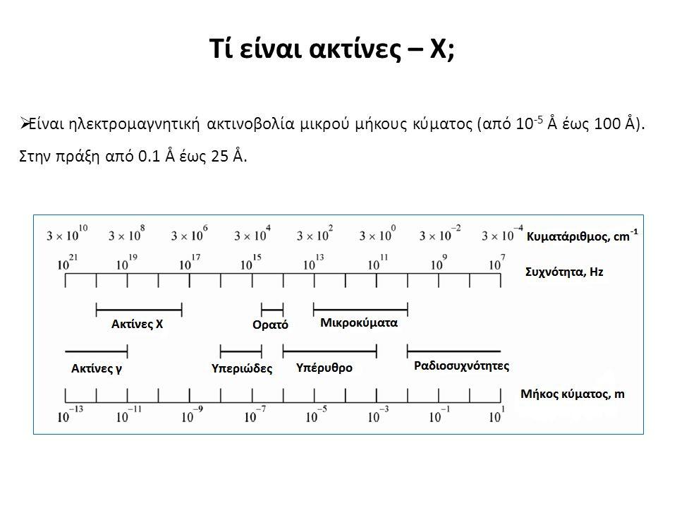 Τί είναι ακτίνες – Χ;  Είναι ηλεκτρομαγνητική ακτινοβολία μικρού μήκους κύματος (από 10 -5 Å έως 100 Å).