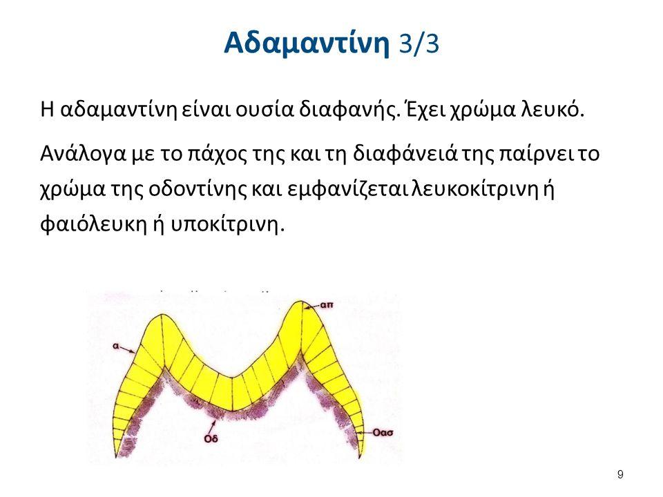Αδαμαντίνη 3/3 Η αδαμαντίνη είναι ουσία διαφανής. Έχει χρώμα λευκό.