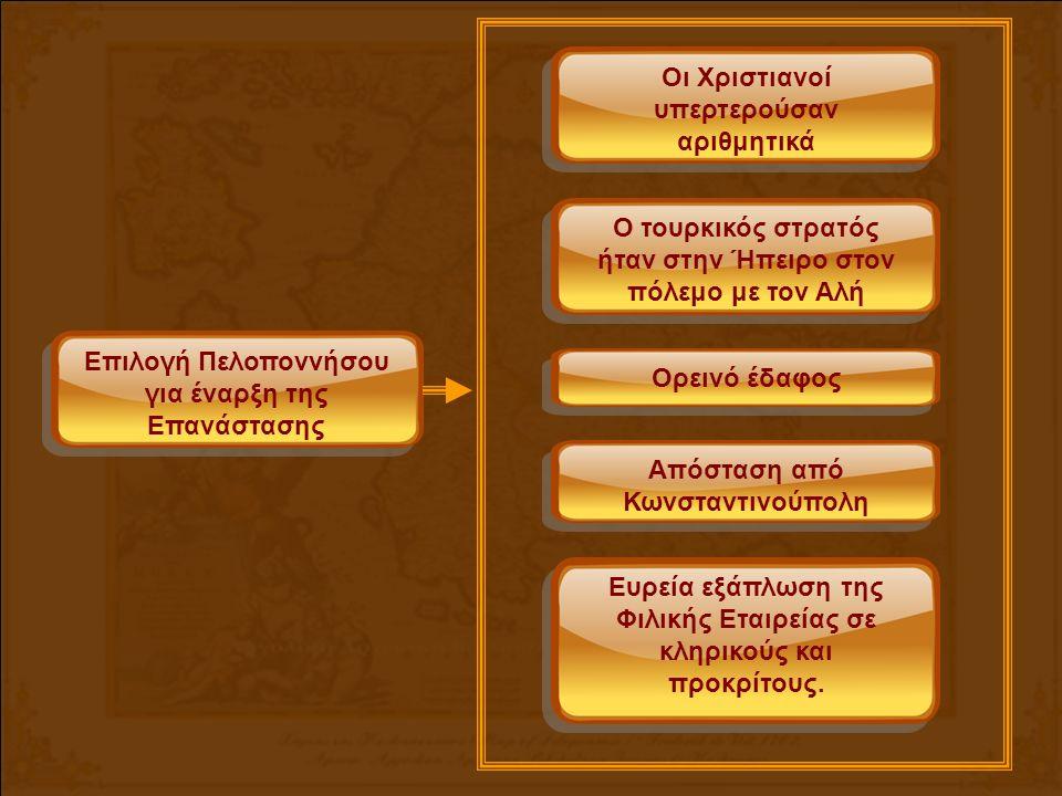 Επιλογή Πελοποννήσου για έναρξη της Επανάστασης Οι Χριστιανοί υπερτερούσαν αριθμητικά Ο τουρκικός στρατός ήταν στην Ήπειρο στον πόλεμο με τον Αλή Ορεινό έδαφος Απόσταση από Κωνσταντινούπολη Ευρεία εξάπλωση της Φιλικής Εταιρείας σε κληρικούς και προκρίτους.