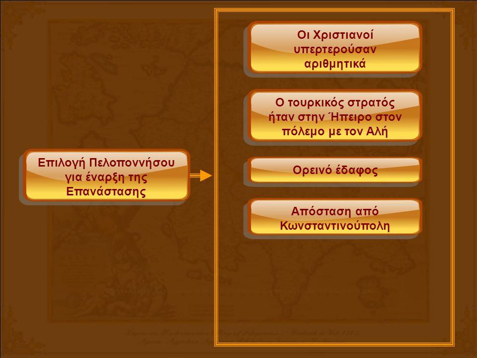 Επιλογή Πελοποννήσου για έναρξη της Επανάστασης Οι Χριστιανοί υπερτερούσαν αριθμητικά Ο τουρκικός στρατός ήταν στην Ήπειρο στον πόλεμο με τον Αλή Ορεινό έδαφος Απόσταση από Κωνσταντινούπολη