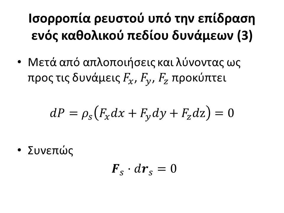 Ισορροπία ρευστού υπό την επίδραση ενός καθολικού πεδίου δυνάμεων (3)