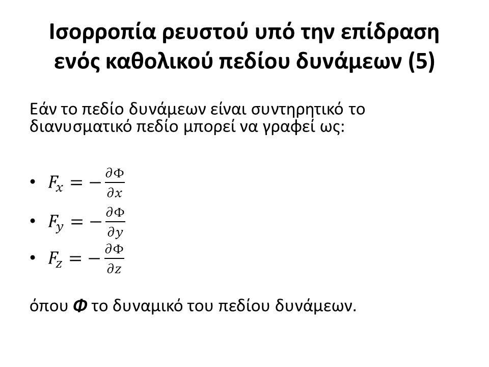 Ισορροπία ρευστού υπό την επίδραση ενός καθολικού πεδίου δυνάμεων (5)