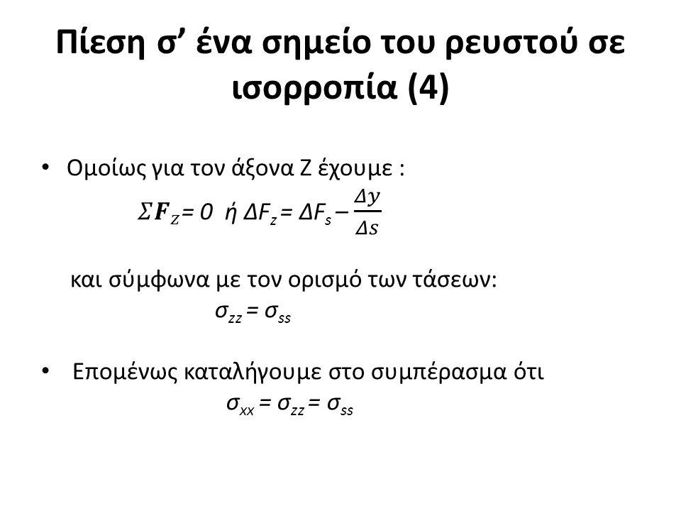 Πίεση σ' ένα σημείο του ρευστού σε ισορροπία (4)