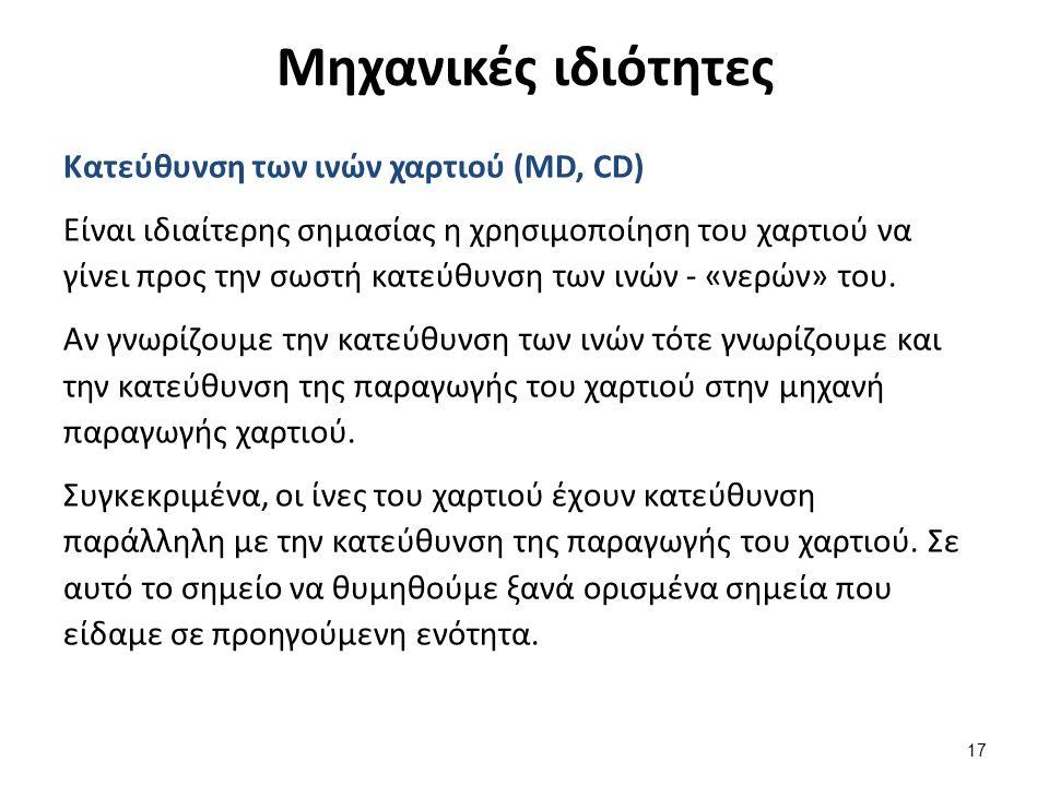 Μηχανικές ιδιότητες 17 Κατεύθυνση των ινών χαρτιού (MD, CD) Είναι ιδιαίτερης σημασίας η χρησιμοποίηση του χαρτιού να γίνει προς την σωστή κατεύθυνση των ινών - «νερών» του.