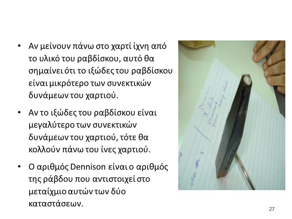 27 Αν μείνουν πάνω στο χαρτί ίχνη από το υλικό του ραβδίσκου, αυτό θα σημαίνει ότι το ιξώδες του ραβδίσκου είναι μικρότερο των συνεκτικών δυνάμεων του χαρτιού.