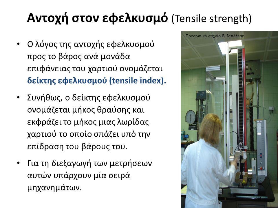 Αντοχή στον εφελκυσμό (Tensile strength) 34 Ο λόγος της αντοχής εφελκυσμού προς το βάρος ανά μονάδα επιφάνειας του χαρτιού ονομάζεται δείκτης εφελκυσμού (tensile index).