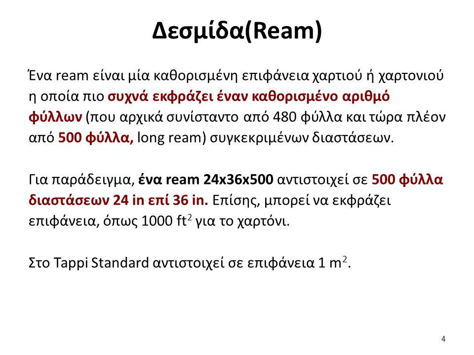 Δεσμίδα(Ream) Ένα ream είναι μία καθορισμένη επιφάνεια χαρτιού ή χαρτονιού η οποία πιο συχνά εκφράζει έναν καθορισμένο αριθμό φύλλων (που αρχικά συνίσταντο από 480 φύλλα και τώρα πλέον από 500 φύλλα, long ream) συγκεκριμένων διαστάσεων.