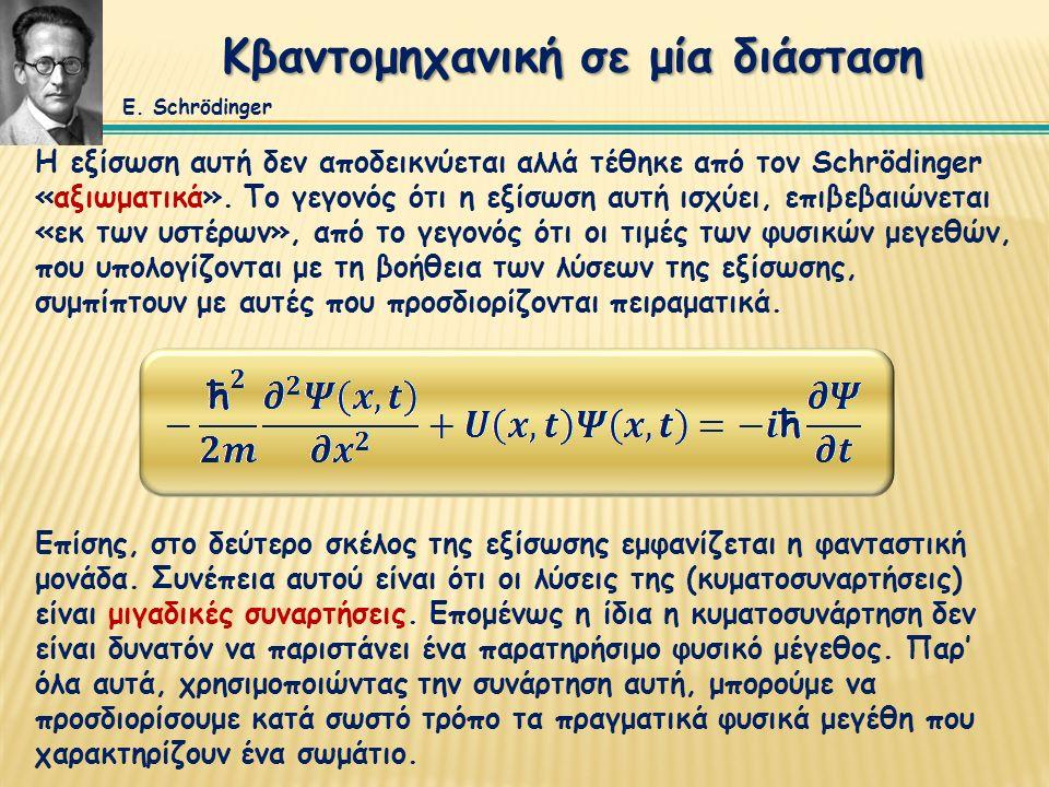 Κβαντομηχανική σε μία διάσταση Η εξίσωση αυτή δεν αποδεικνύεται αλλά τέθηκε από τον Schrödinger «αξιωματικά».