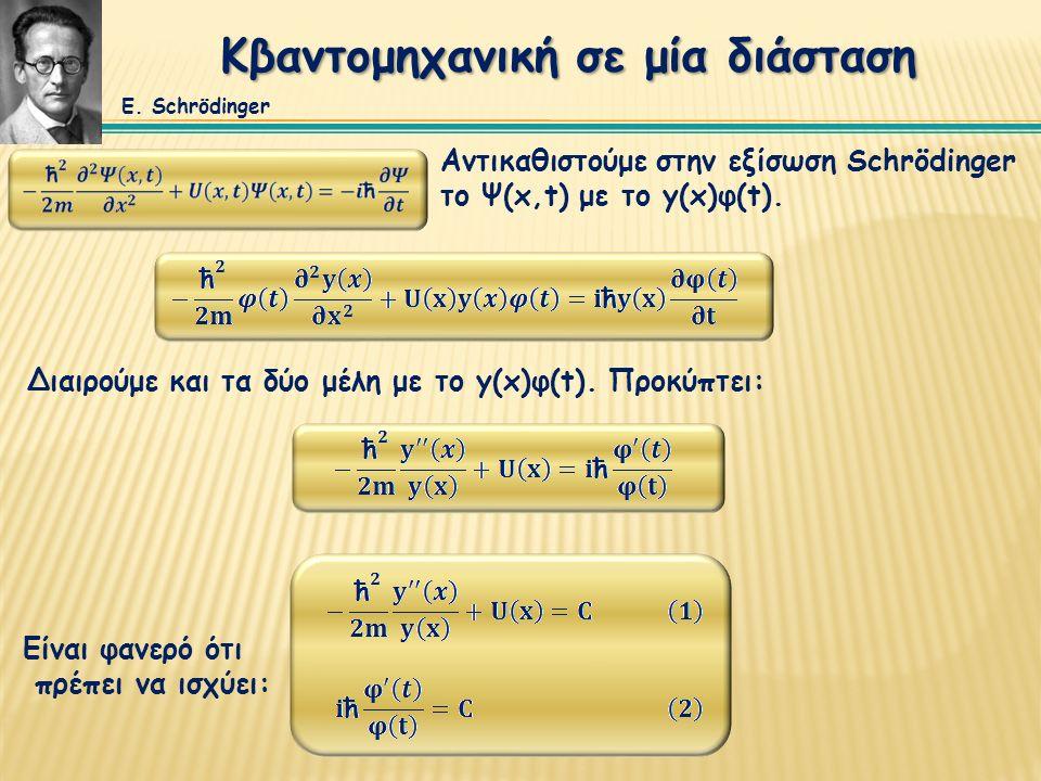 Κβαντομηχανική σε μία διάσταση Αντικαθιστούμε στην εξίσωση Schrödinger το Ψ(x,t) με το y(x)φ(t).