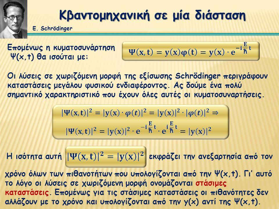 Κβαντομηχανική σε μία διάσταση Επομένως η κυματοσυνάρτηση Ψ(x,t) θα ισούται με: Οι λύσεις σε χωριζόμενη μορφή της εξίσωσης Schrödinger περιγράφουν καταστάσεις μεγάλου φυσικού ενδιαφέροντος.