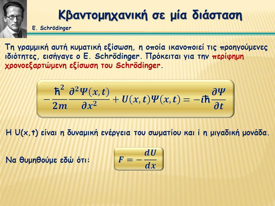 Κβαντομηχανική σε μία διάσταση Η U(x,t) είναι η δυναμική ενέργεια του σωματίου και i η μιγαδική μονάδα.