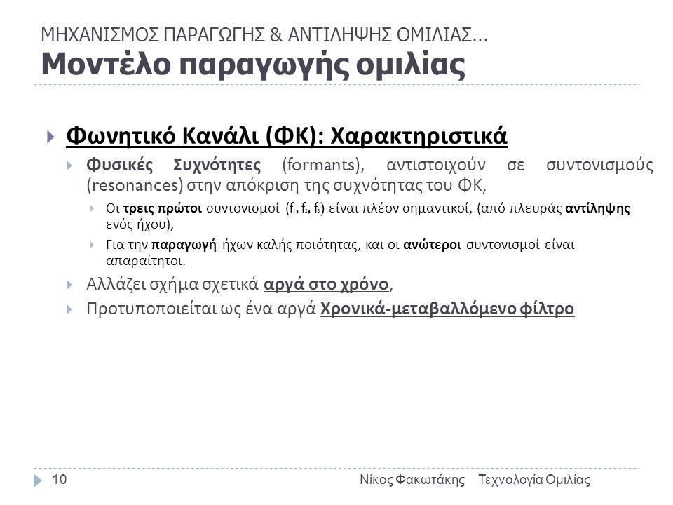 ΜΗΧΑΝΙΣΜΟΣ ΠΑΡΑΓΩΓΗΣ & ΑΝΤΙΛΗΨΗΣ ΟΜΙΛΙΑΣ... Μοντέλο παραγωγής ομιλίας Τεχνολογία ΟμιλίαςΝίκος Φακωτάκης10  Φωνητικό Κανάλι ( ΦΚ ): Χαρακτηριστικά  Φ