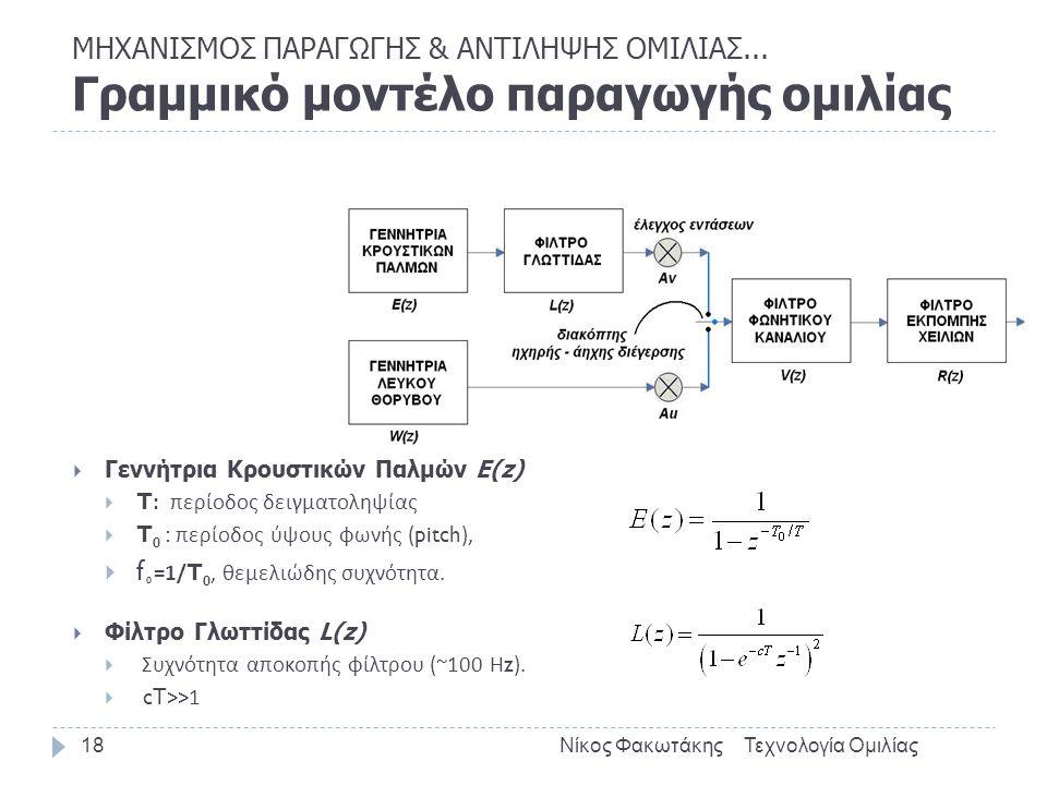  Γεννήτρια Κρουστικών Παλμών E(z)  T: περίοδος δειγματοληψίας  T 0 : περίοδος ύψους φωνής (pitch),  f 0 =1/T 0, θεμελιώδης συχνότητα.  Φίλτρο Γλω