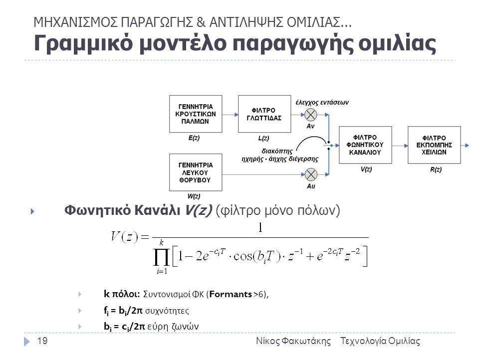  Φωνητικό Κανάλι V(z) (φίλτρο μόνο πόλων)  k πόλοι : Σ υντονισμοί ΦΚ (Formants >6),  f i = b i /2 π συχνότητες  b i = c i /2 π εύρη ζωνών Τεχνολογία ΟμιλίαςΝίκος Φακωτάκης19 ΜΗΧΑΝΙΣΜΟΣ ΠΑΡΑΓΩΓΗΣ & ΑΝΤΙΛΗΨΗΣ ΟΜΙΛΙΑΣ...